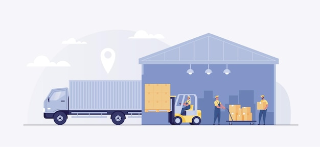 Logistics warehouse loading truck working forklift.