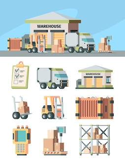 Logistics warehouse and transport set. cargo scanner racks industrial scales with boxes forklift wheelbarrow with crates delivery truck delivery address list.