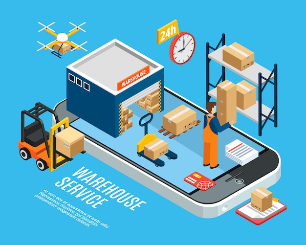 Logistics with warehouse delivery service on blue 3d isometric illustration