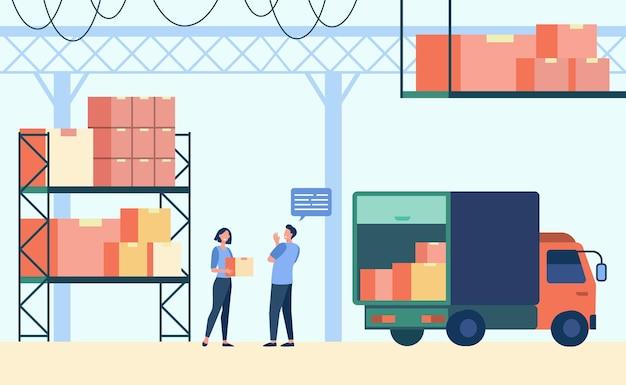 물류 노동자와 택배 적재 트럭