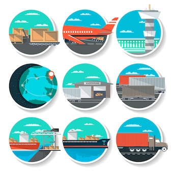 Logistics and worldwide shipping round badge set