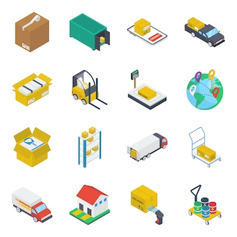 Logitics delivery isometric icons pack