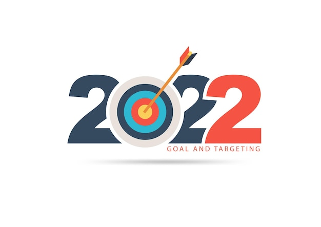 Logo 2022 new year with creative target market ideas concept design, vector illustration modern layout template