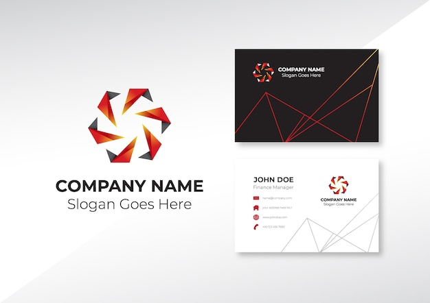 Logo abstract gear with business card  design