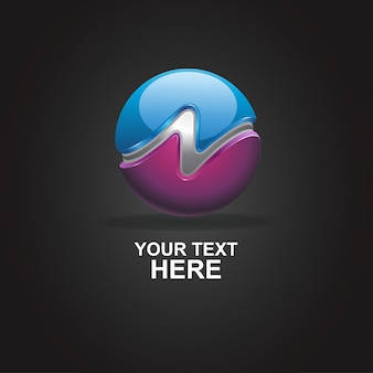 Logo abstract n 3d