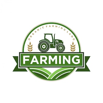 Logo for the agricultural industry with tractor and shovel elements