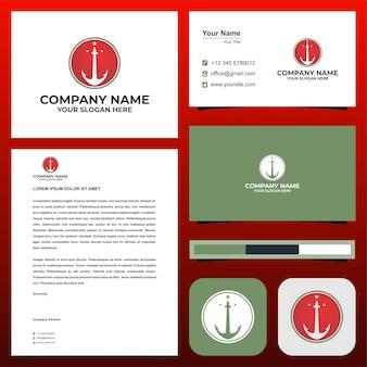 Логотип якорь или гавань на визитной карточке премиум векторы премиум логотип
