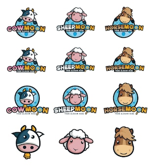 Logo for animal farm with cow, sheep and horse as mascot