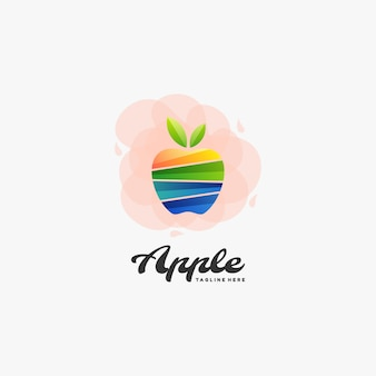 Logo  apple gradient colorful style.
