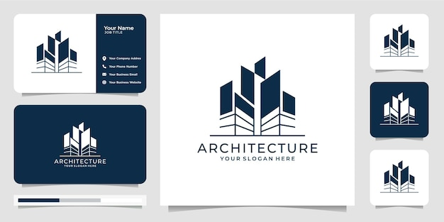 Logo architecture with line sketch