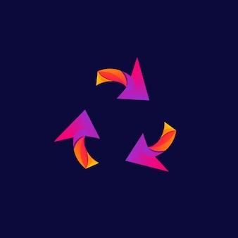 Логотип стрелка дизайн красочный градиент иллюстрации