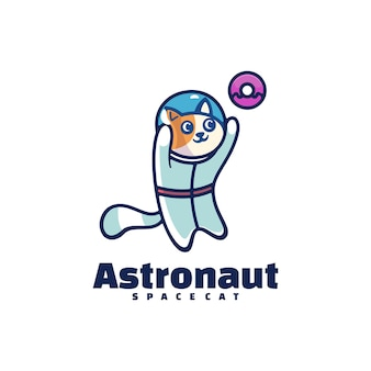 Logo  astronaut simple mascot style.