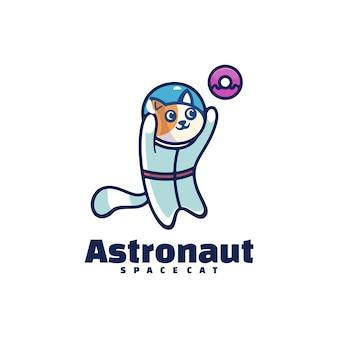 Логотип астронавта в стиле простого талисмана.