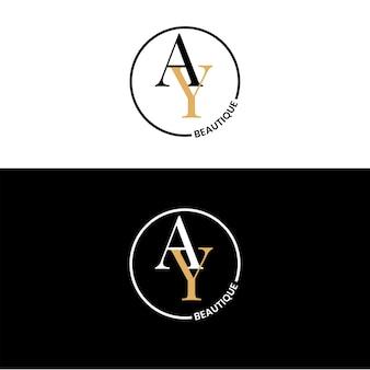 로고 에이 뷰티크 옐로우와 블랙 . 당신의 회사에 적합