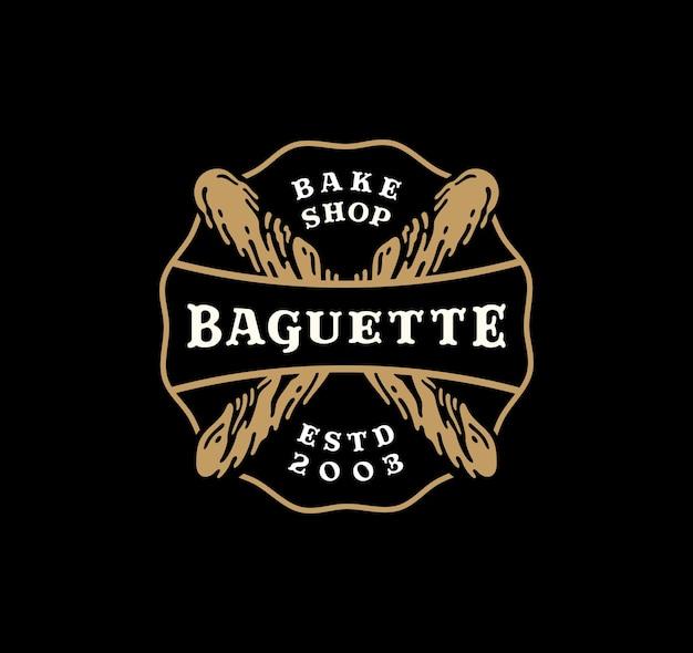 Значок логотипа багетного хлеба в винтажном дизайне.