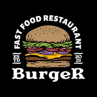 ヴィンテージのハンバーガーのロゴバッジ