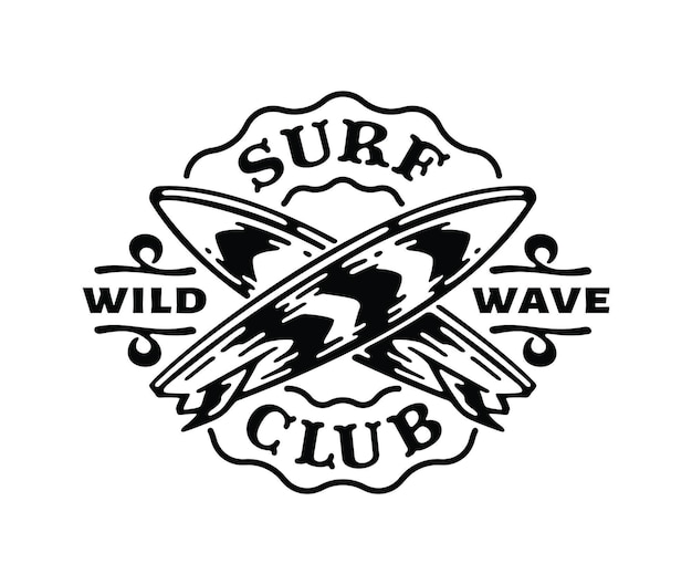 낙서 빈티지 그림에서 서핑 보드의 로고 배지