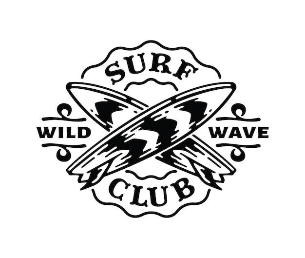 Logo badge of surfboard in doodle vintage illustration