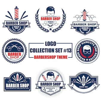 Logo, badge, symbol, icon, label template design collection set with barbershop theme