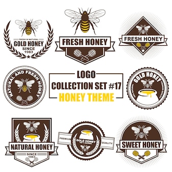 Logo, badge, symbol, icon, label template design collection set with honey theme
