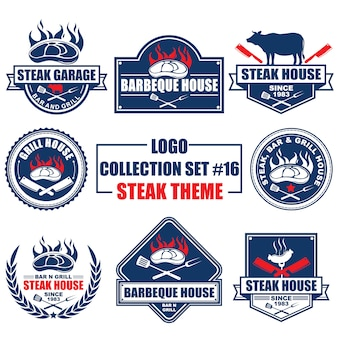 Logo, badge, symbol, icon, label template design collection set with steak theme