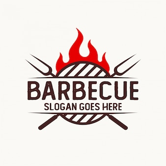 Logo for barbecue company with flame and fork element