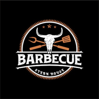 Logo for a barbecue restaurant with a vintage style