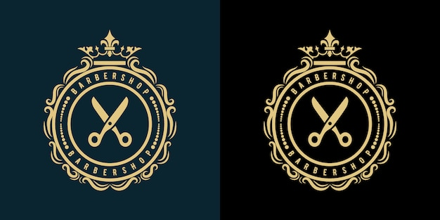 The logo for barbershop hair salon beauty and spa business with vintage royal luxury style premium