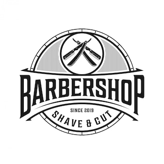 The logo for barbershop with vintage style