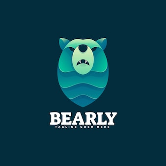 로고 곰 그라데이션 다채로운 스타일.