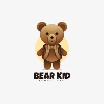 Logo bear kid gradient style.