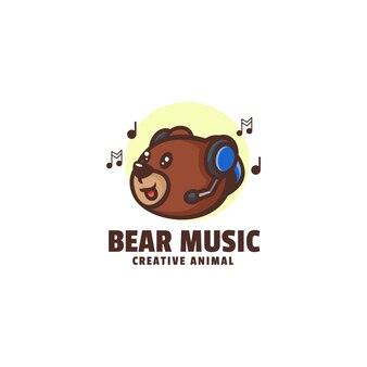 Logo bear music mascot cartoon style