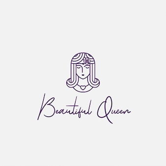 Logo beautiful queen with line art style