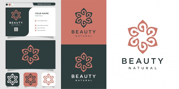 Logo beauty minimalist and business card with line art design template