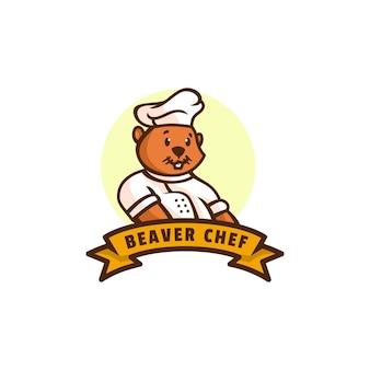Logo beaver chef mascot cartoon style