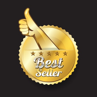 Logo of best seller with hand and finger