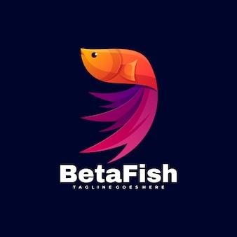 Logo  beta fish gradient colorful style.