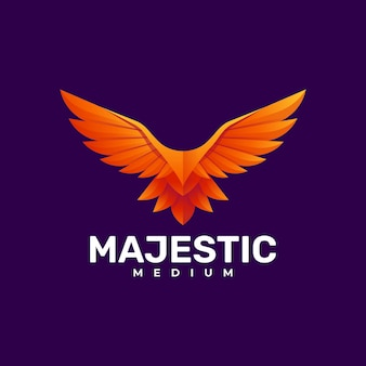 Logo bird gradient Premium Vector