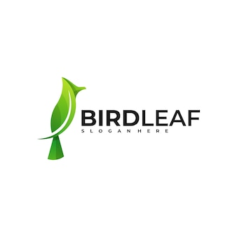 ロゴ鳥の葉のグラデーションカラフルなスタイル