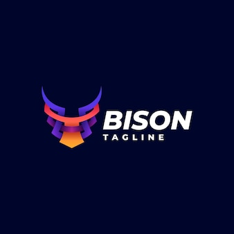 Logo bison gradient colorful style