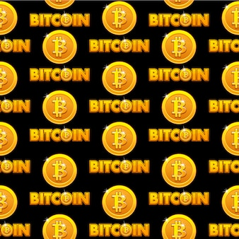 Logo bitcoin illustration seamless pattern background golden coins isolated with bitcoin sign. cryptocurrency electronic