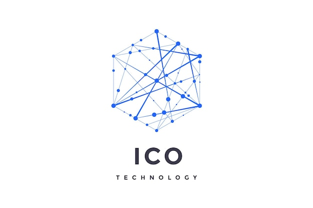 Logo for blockchain technology. hexagon with connected lines for logo