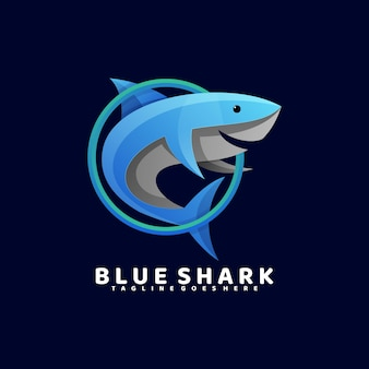 Logo  blue shark gradient colorful style.