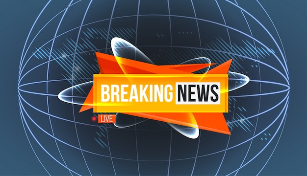 Logo of breaking news on world map