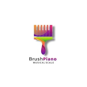 Логотип кисти фортепиано градиент красочный стиль.