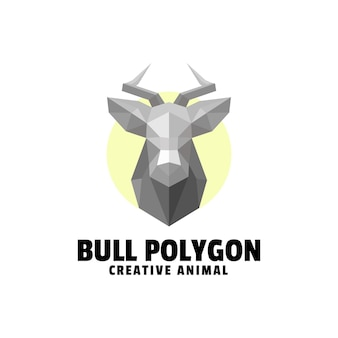 Logo bull polygon gradient colorful style