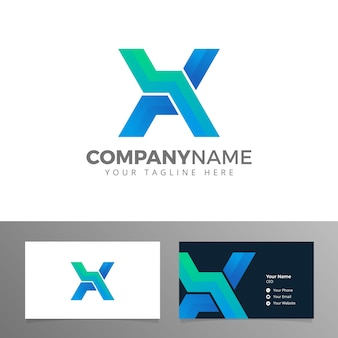 Logo and business card for company letter x vector blue corporate