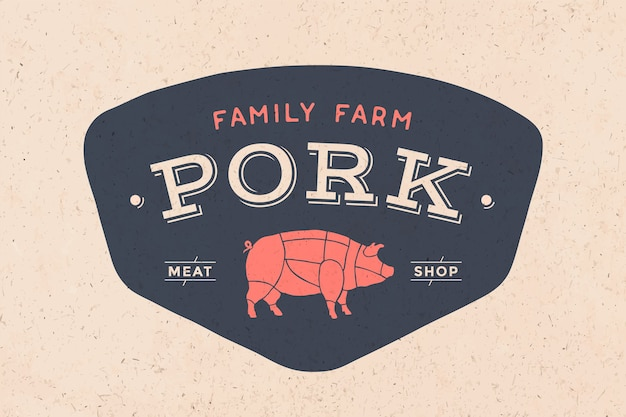 Logo of butcher meat shop with icon pig, text pork meat shop. logo graphic template for meat business - shop, market, restaurant or  - menu, poster, banner, sticker, label.  illustration