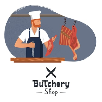 Logo for a butcher shop with a bearded butchers at work.