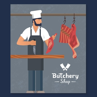 Logo for a butchers shop with a bearded butchers at work.
